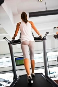 Woman running on treadmill, canon 1Ds mark III